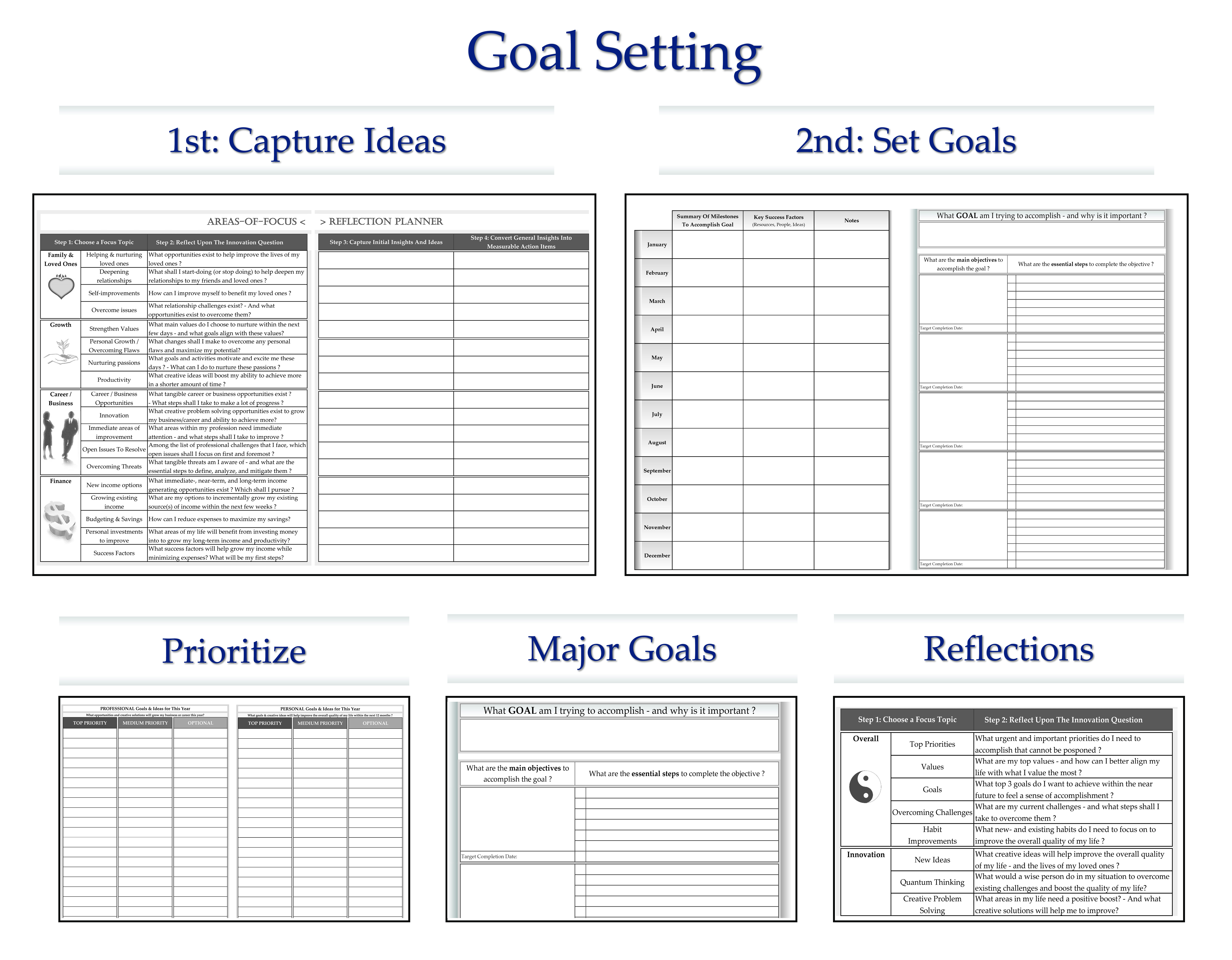 Calander Personal Organizer 12 Month Goal Setting