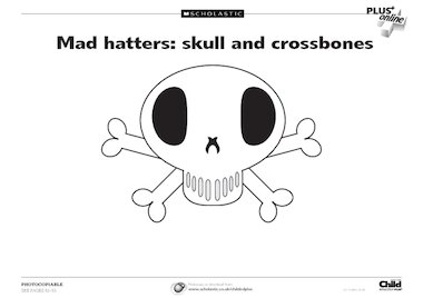 Mad hatters: skull and crossbones template