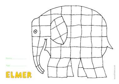 Elmer colouring sheet
