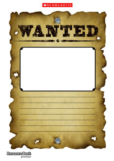 wanted poster template primary ks1