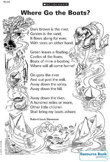 'Where go the boats' poem by Robert Louis Stevenson