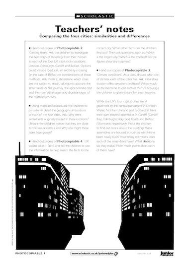 UK capital cities – teachers' notes
