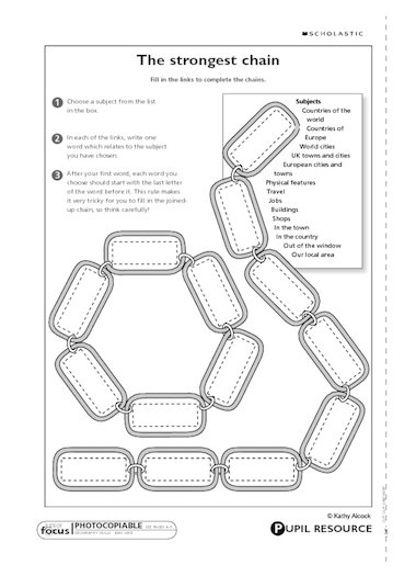 Create a geography word chain