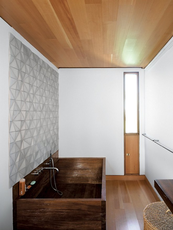 25 Backsplash Ideas For Your Kitchen Renovation - Photo 5 of 25 - In the bathroom, a custom ceramic backsplash designed by Meredith and Sample joins an iroko-wood tub created by their students a the University of Toronto.