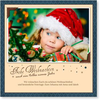 Kleine Fotoecken in Blau Aktuelle Weihnachtskarten 2015