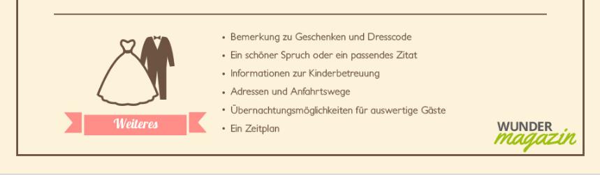 Text Organisatorisches Hochzeit