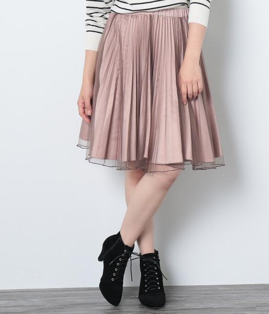 ビス | ★新色追加★【2WAY】リバーシブルチュール付起毛プリーツスカート - 7