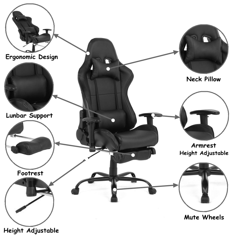 Video Chair Ergonomic Racing Gaming Chair With Footrest Black Moustache