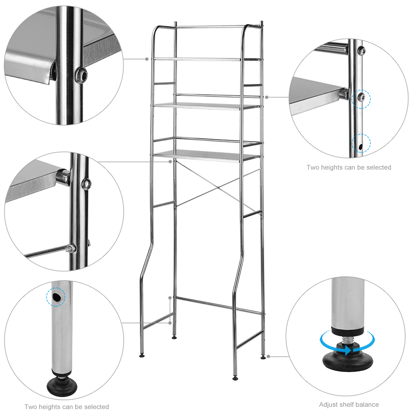 3 Tier Over The Toilet Storage Rack Durable Stainless