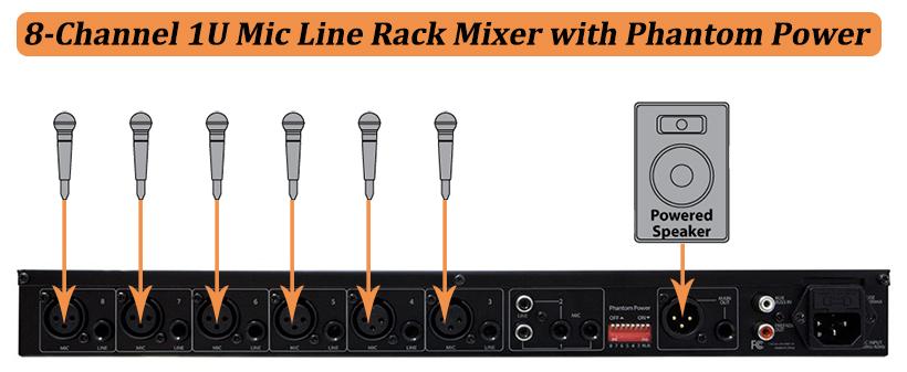 8 channel 1u mic line rack mixer with phantom power monoprice