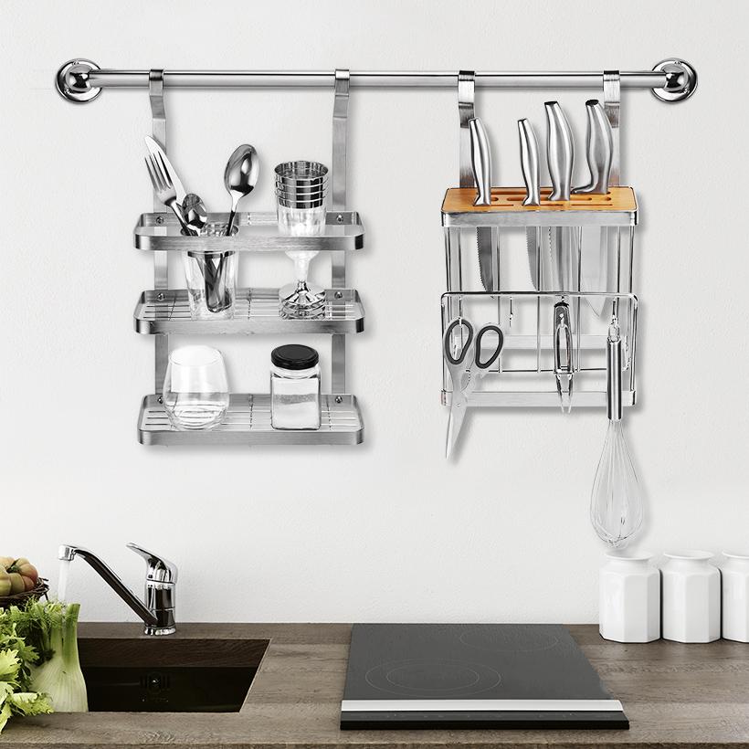 kitchen wall rail pot storage stainless steel utensil pan lid rack organizer 31 5 inch sortwise
