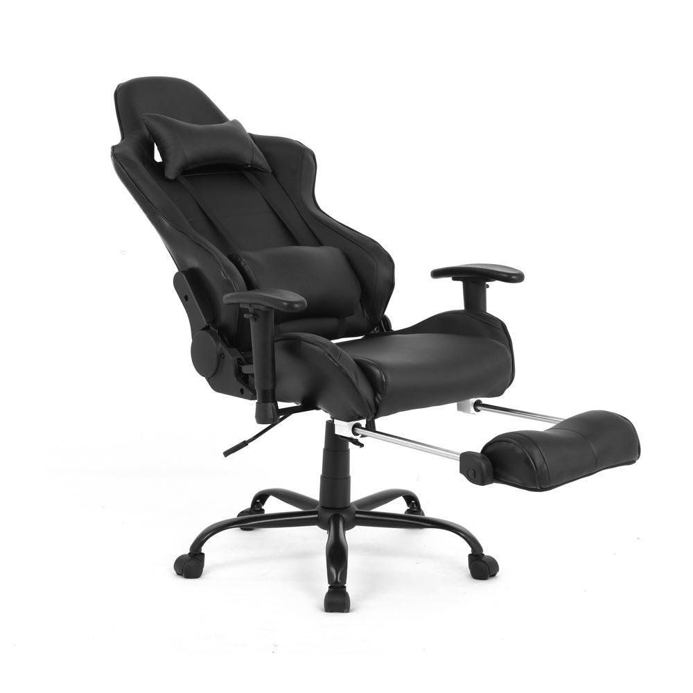 Video Game Chairs Ergonomic Racing Gaming Chair With Footrest Black Moustache