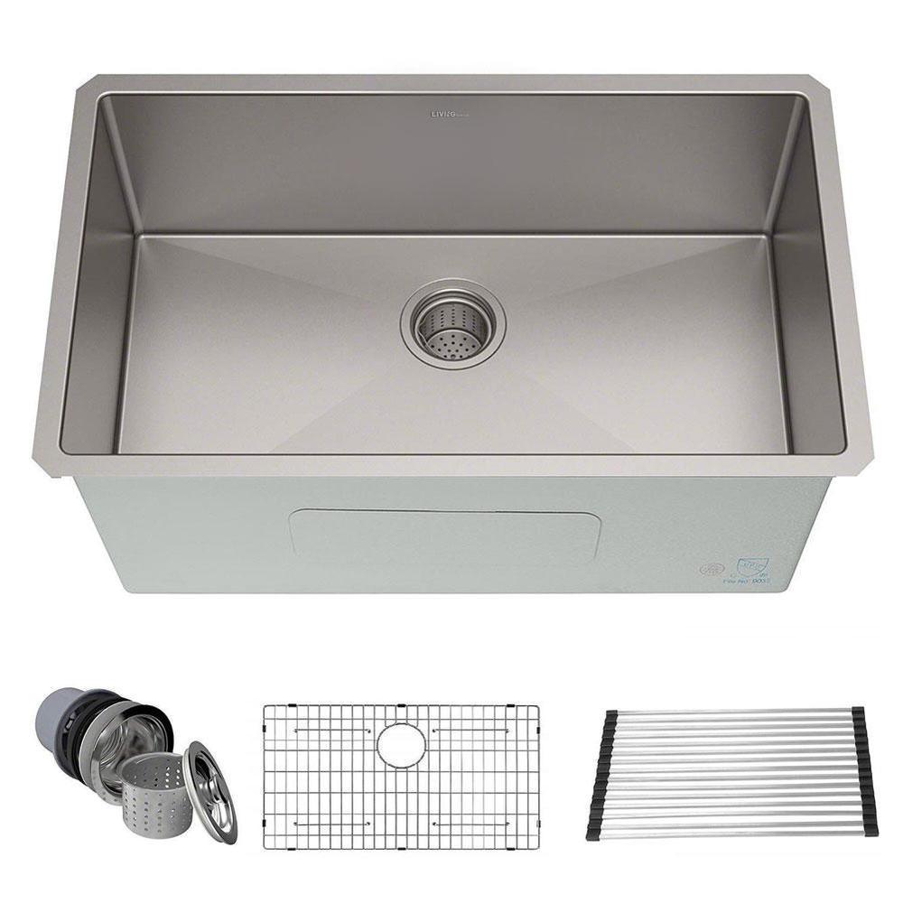 30 inch undermount single bowl 16 gauge stainless steel kitchen sink 30 x 18 x 10 livingbasics