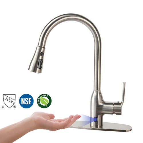 touchless motion sense kitchen sink faucet with pull down sprayer brushed nickel livingbasics