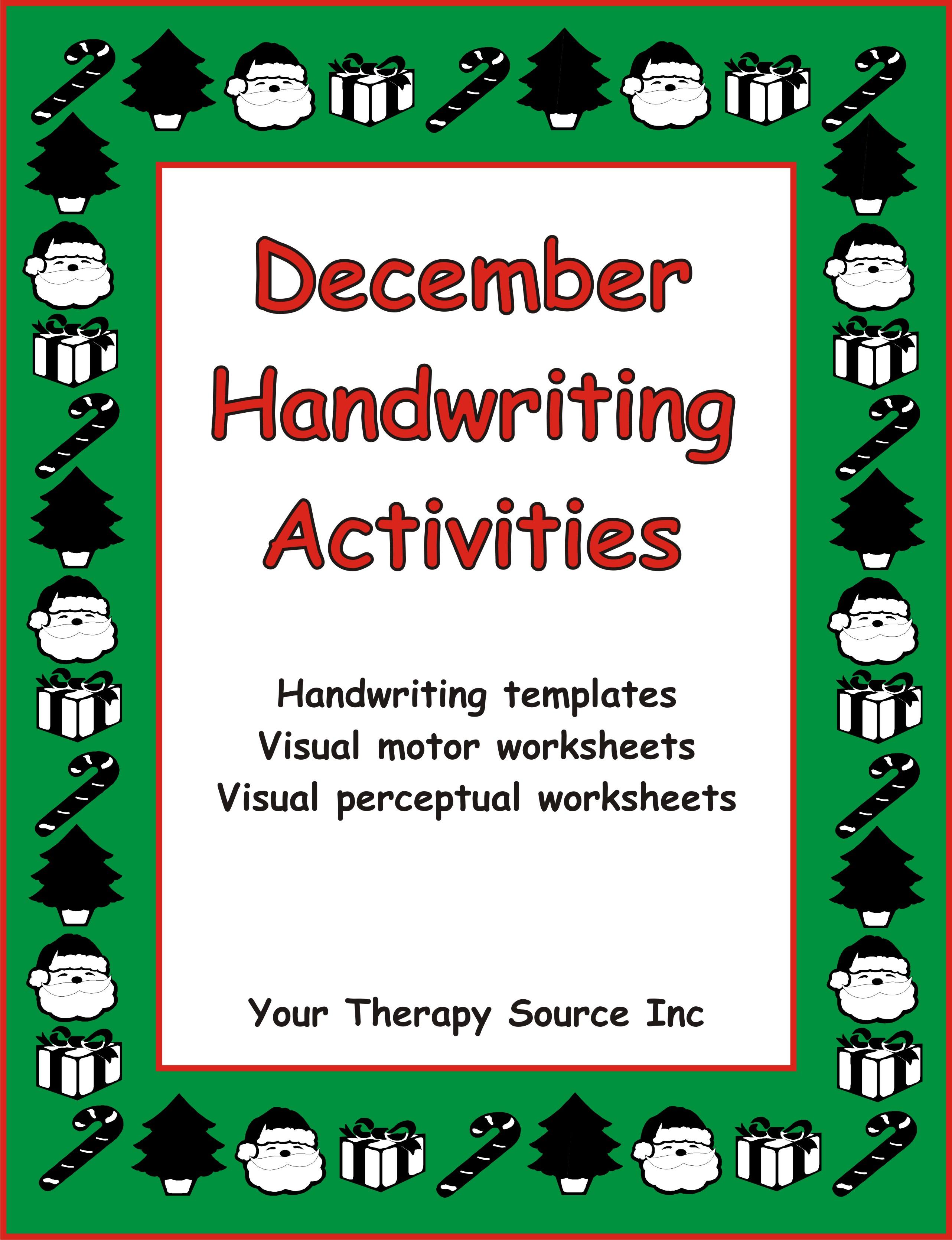 December Handwriting Activities