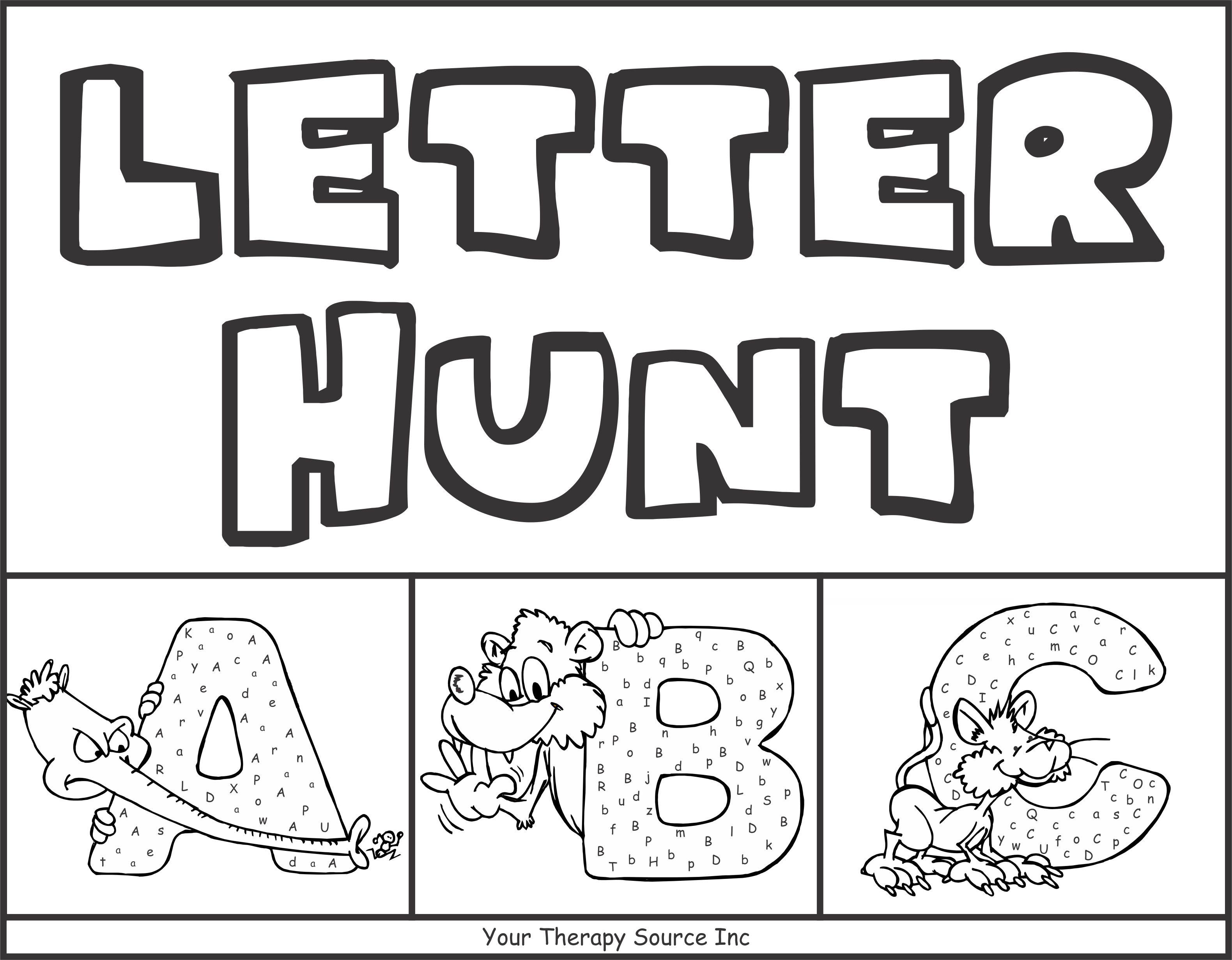 Letter Hunt Worksheets