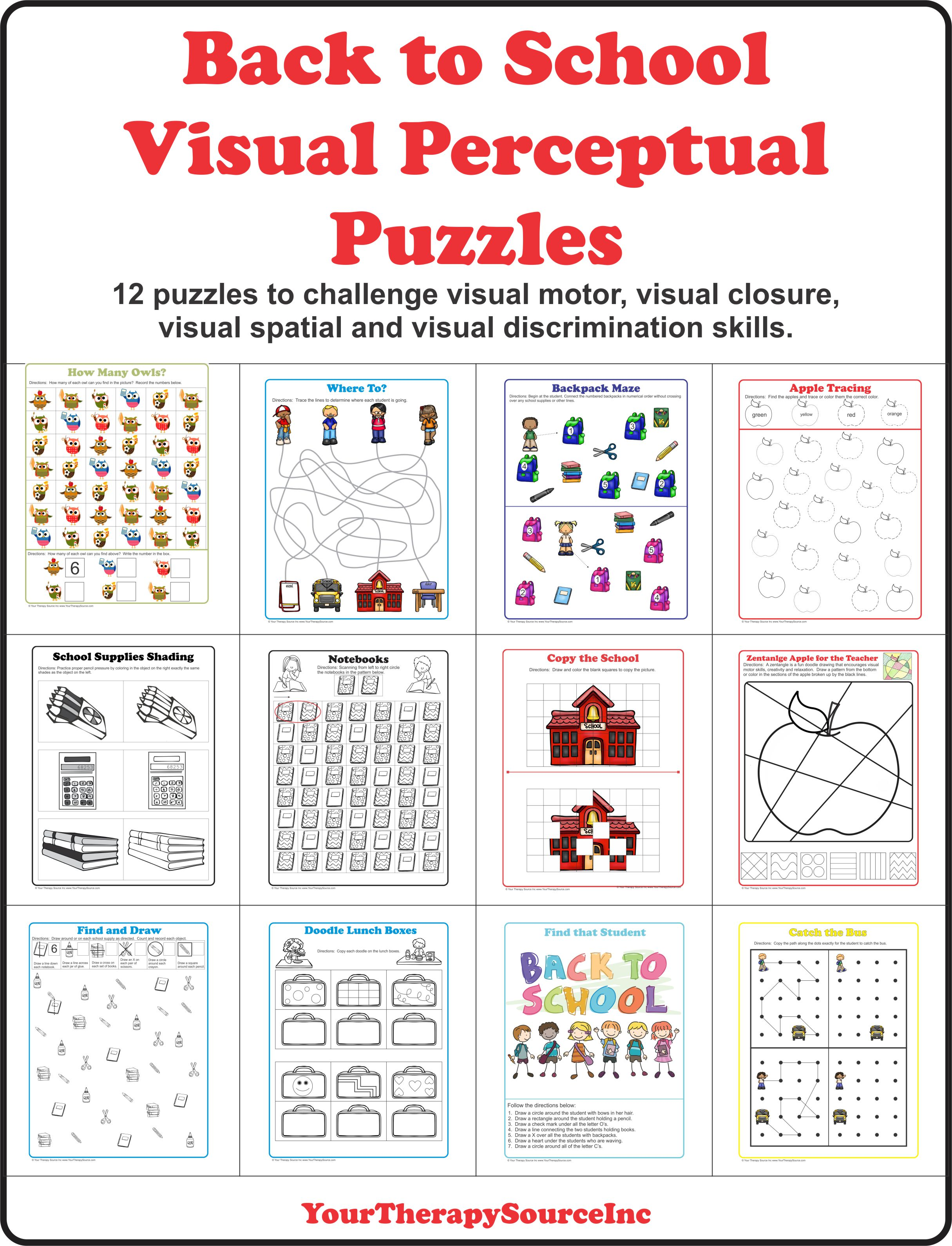 Back To School Visual Perceptual Puzzles
