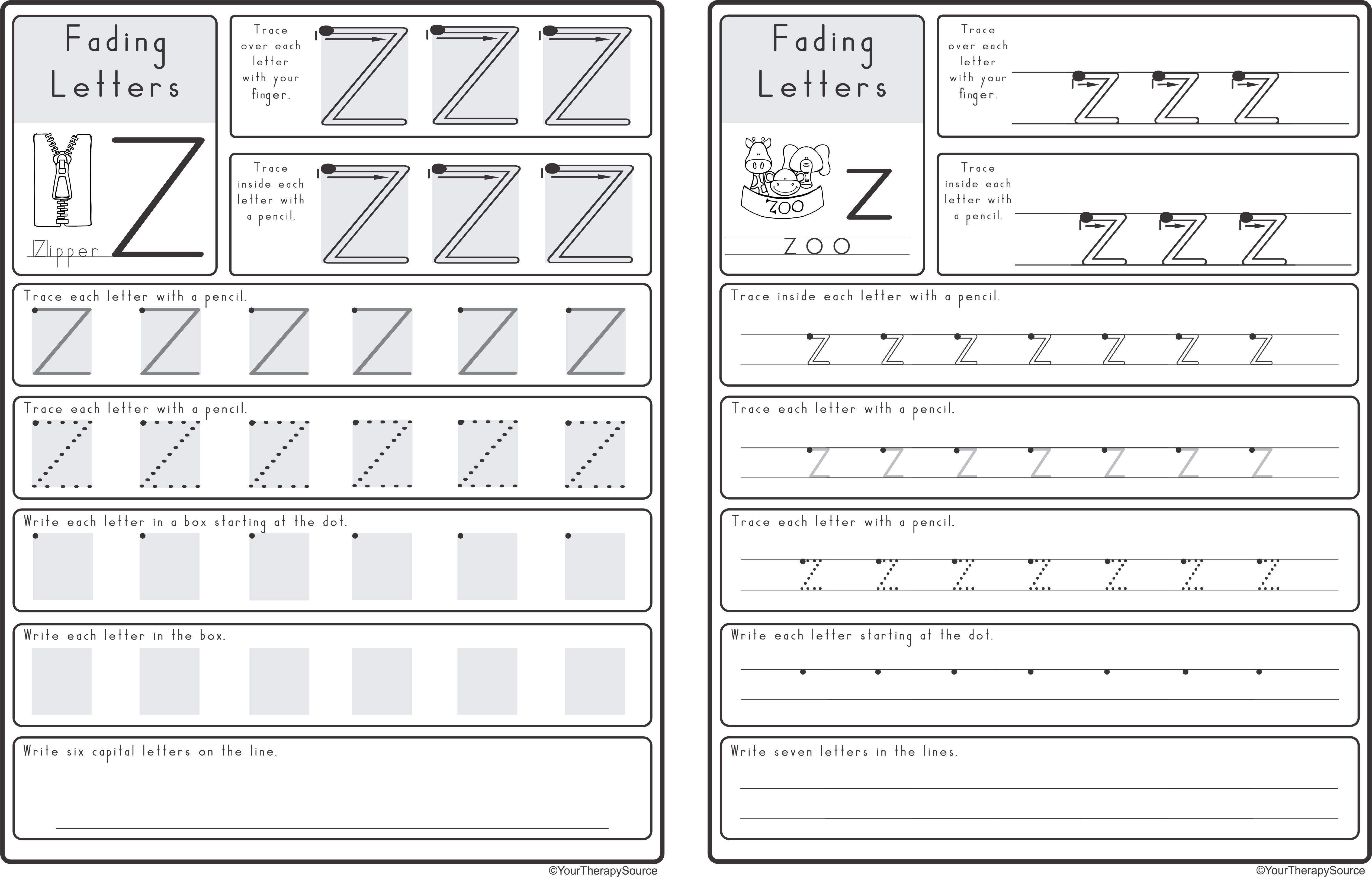 Zaner Bloser Tracing Worksheet
