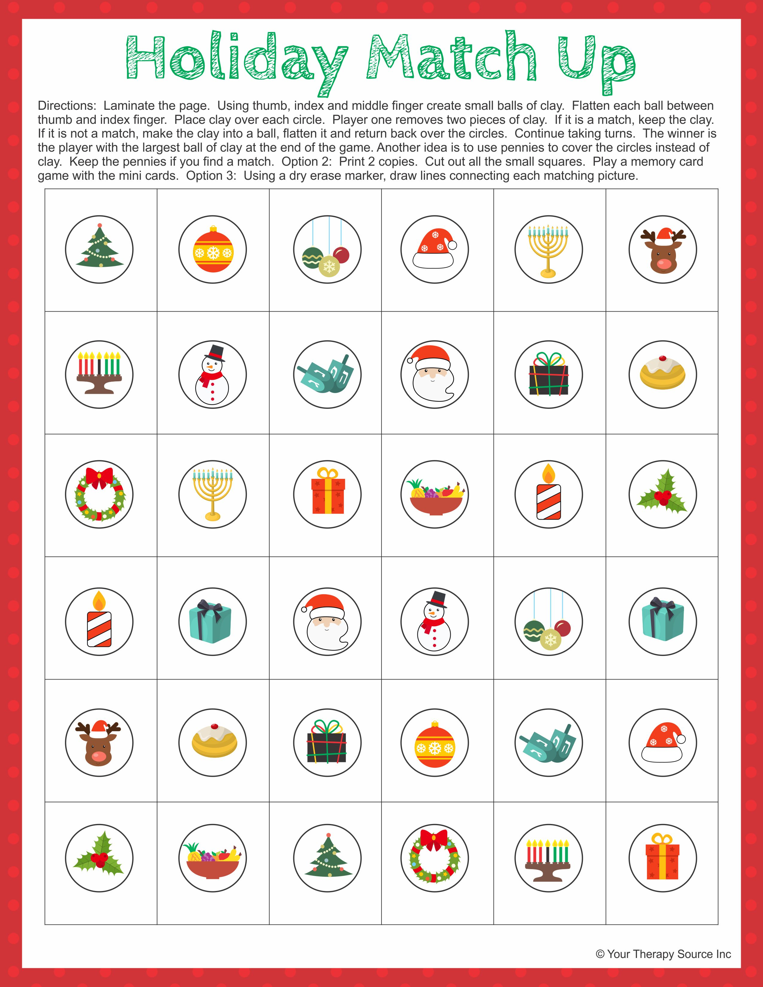 Holiday Match Up Fine Motor And Visual Memory Activity