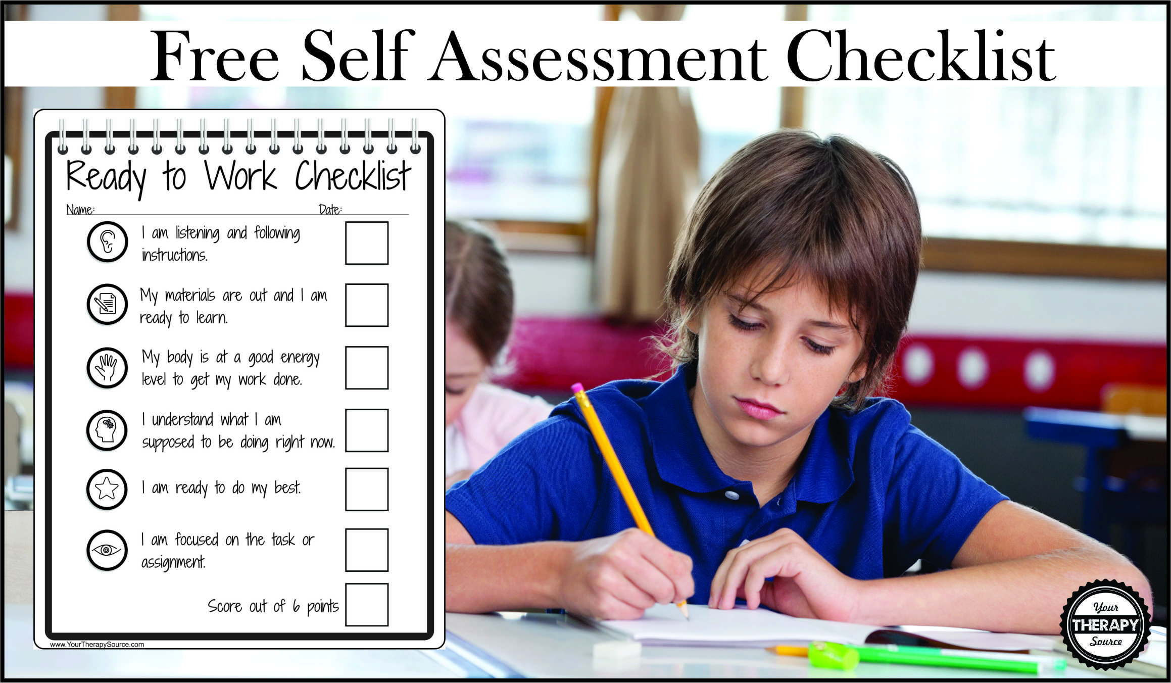 Self Assessment Checklist For In Class Behavior And Self