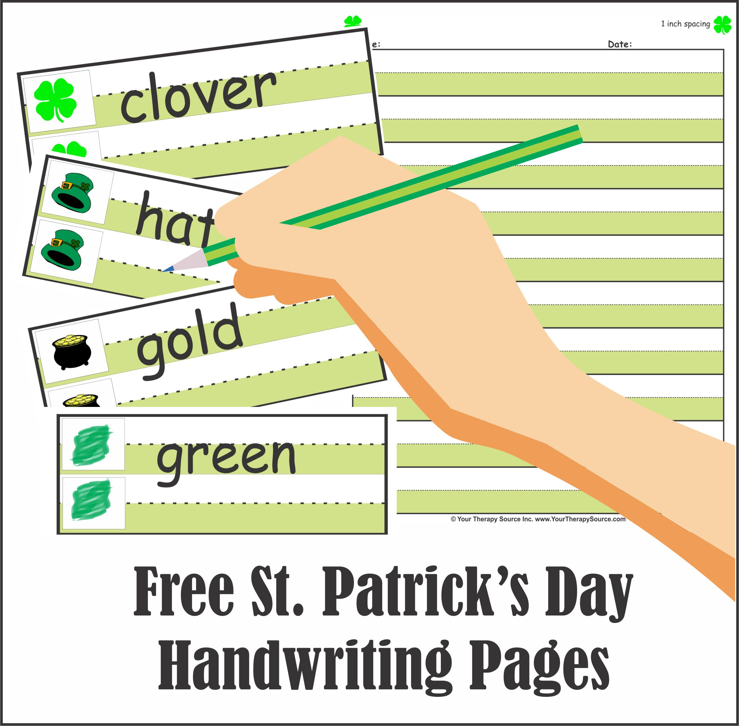 Free St Patrick S Day Handwriting Pages