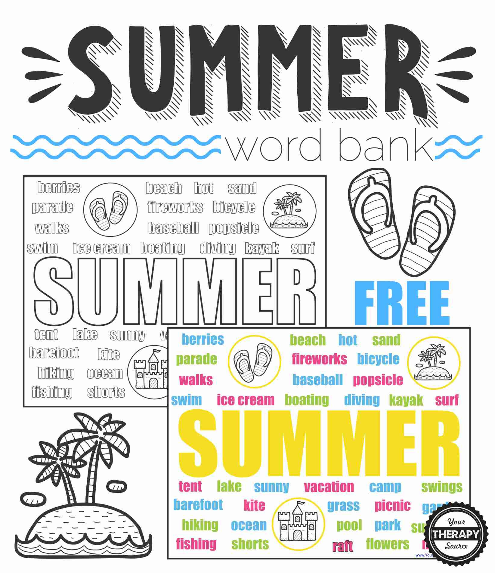 Summer Word Bank Collage Black And White And Color