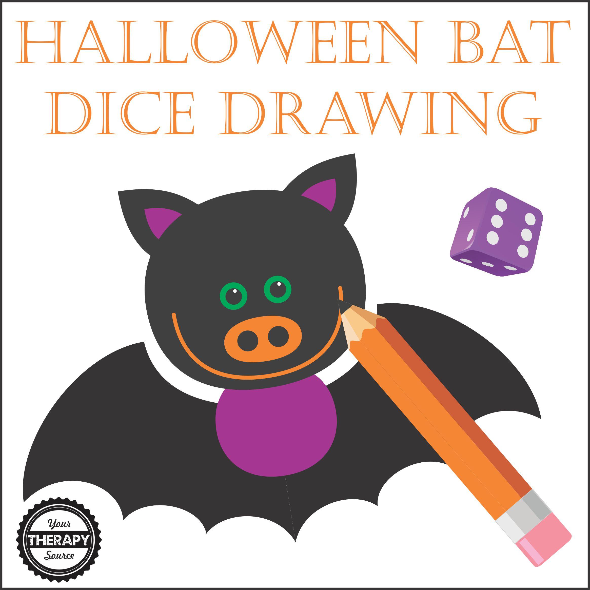 Halloween Bat Dice Drawing