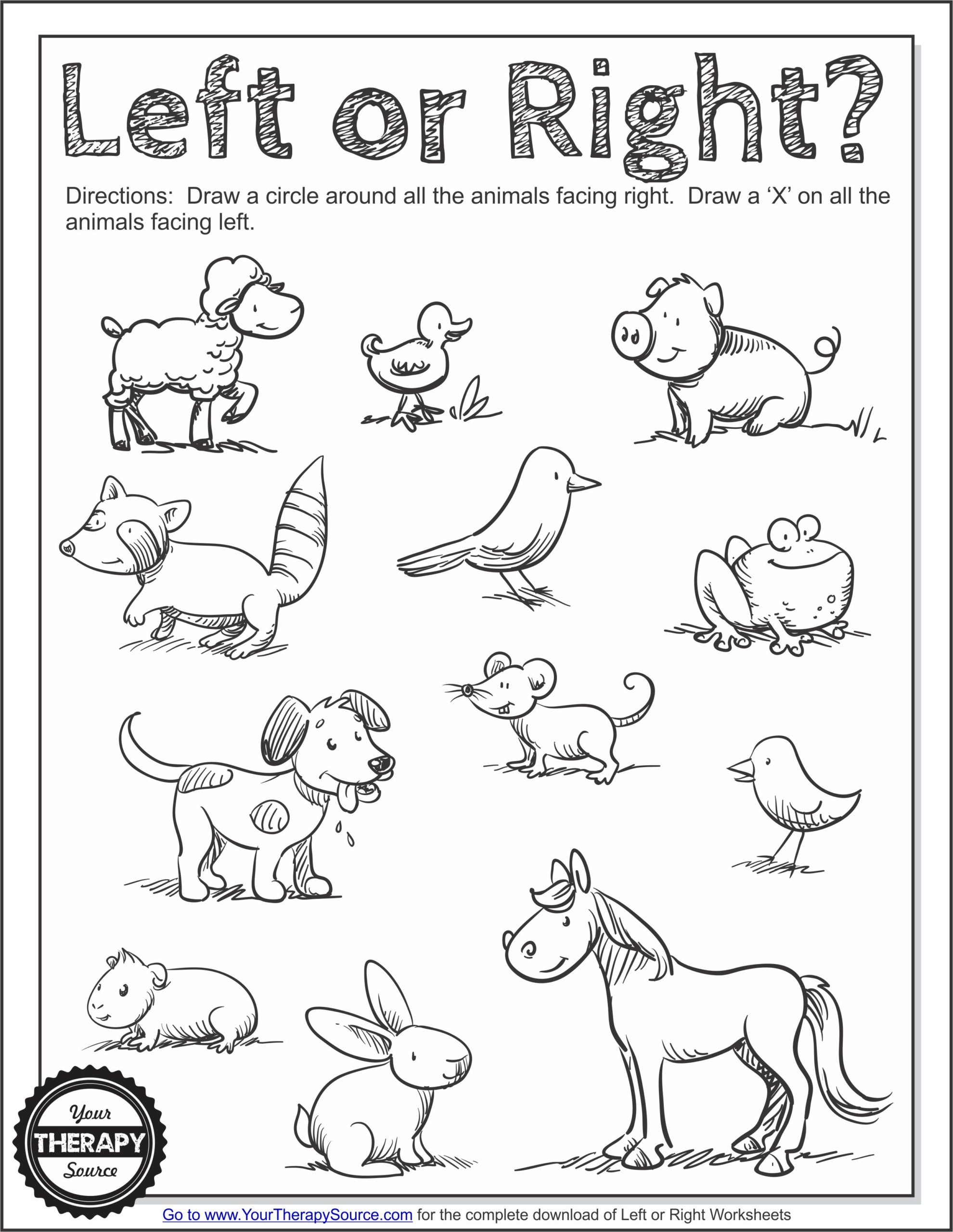 Left Or Right Worksheets