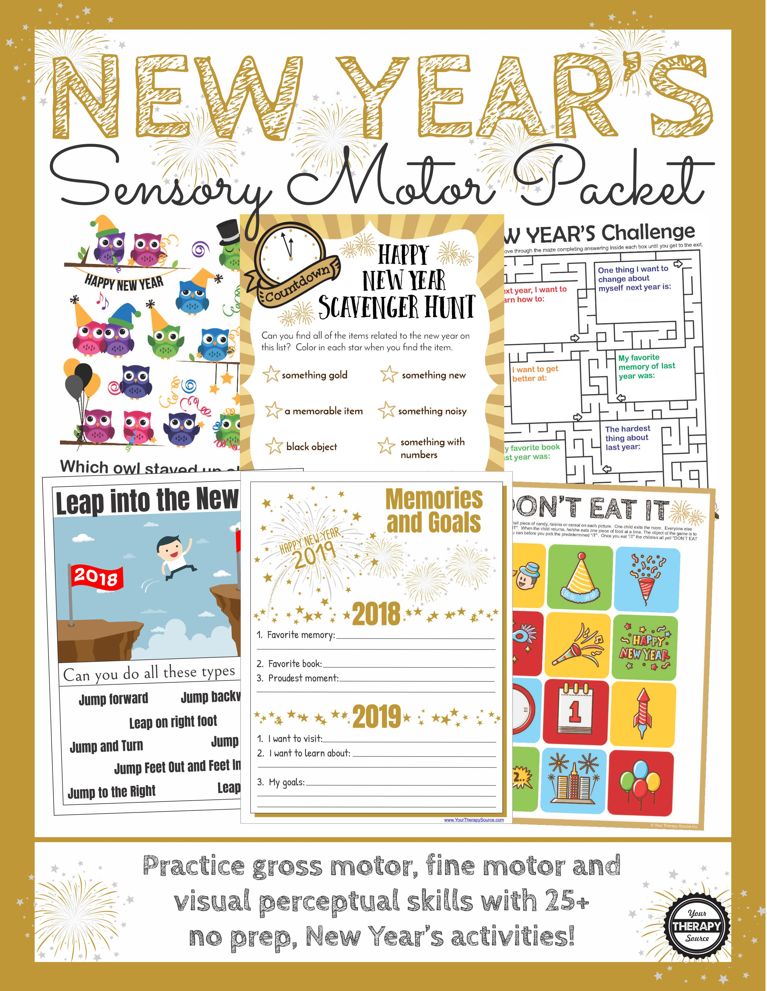 New Year S Sensory Motor Packet