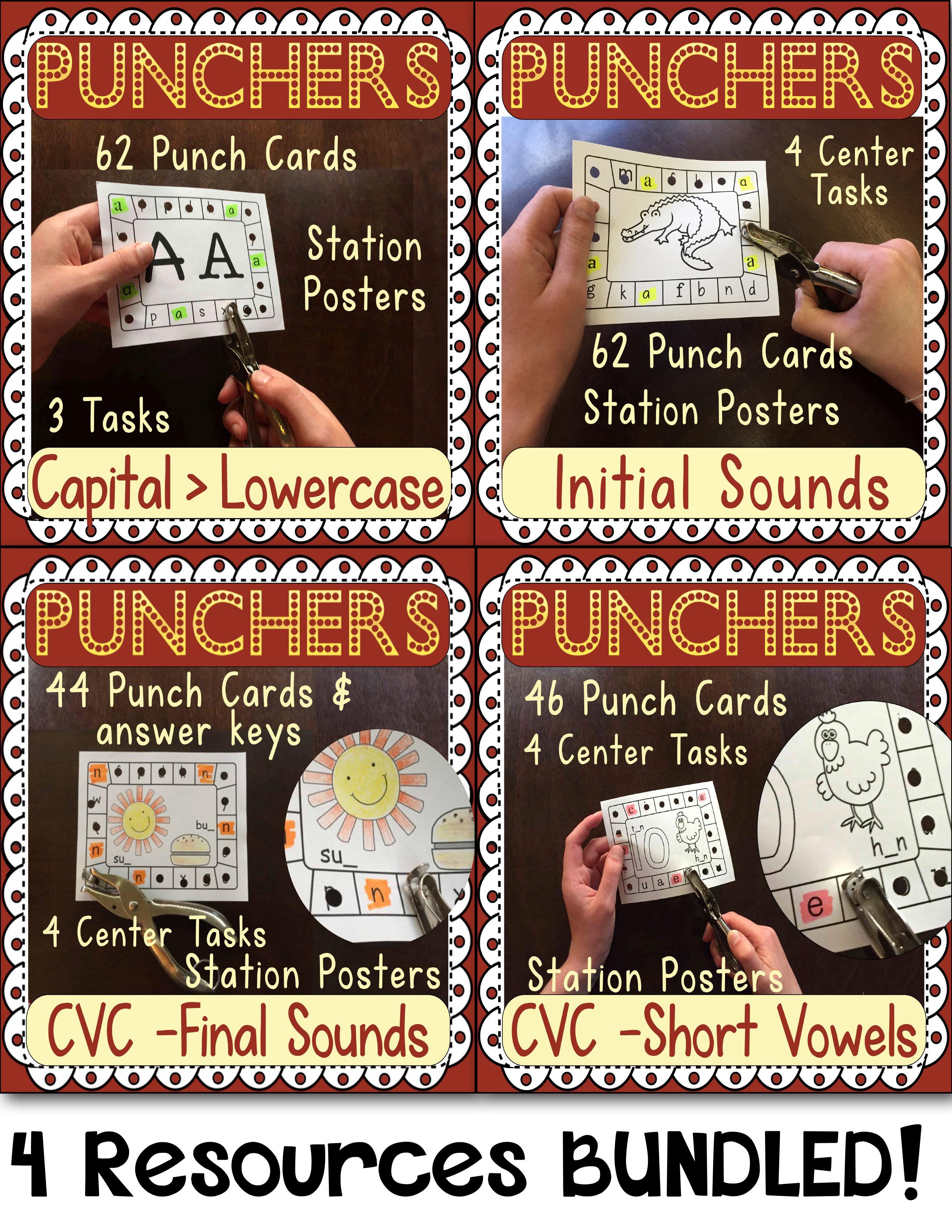 Hole Punch Task Cards Bundled Letter Id Beginning Final