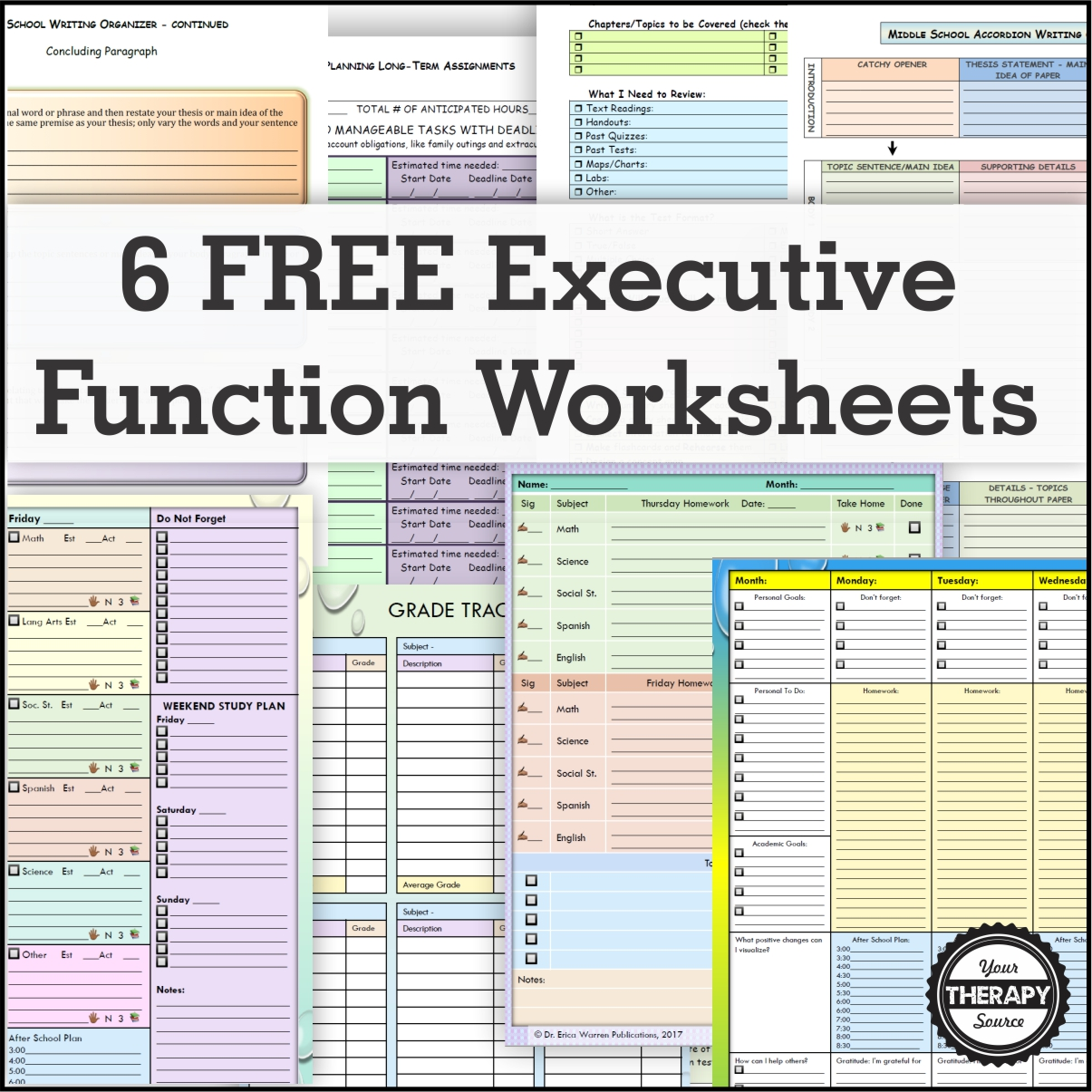 6 Free Executive Functioning Activity Worksheets