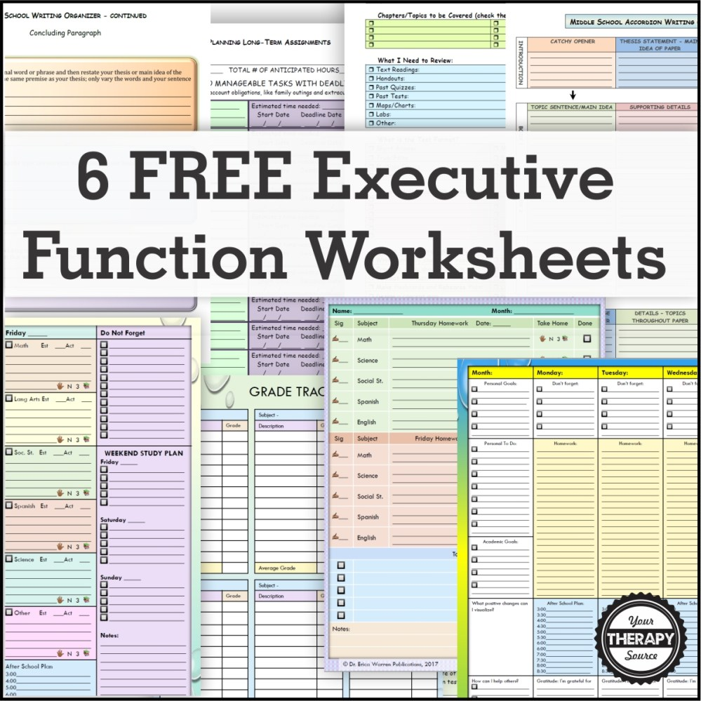 medium resolution of 6 FREE Executive Functioning Activity Worksheets - Your Therapy Source
