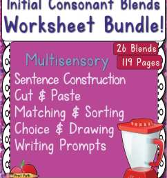 Initial Consonant Blends - Multisensory Worksheet Package - Your Therapy  Source [ 1211 x 937 Pixel ]
