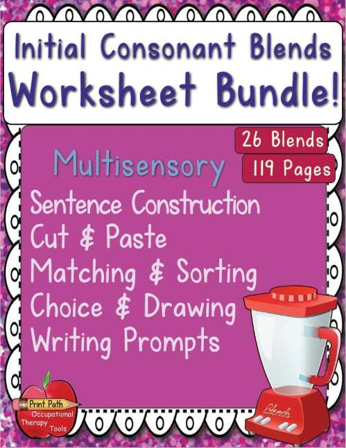 small resolution of Initial Consonant Blends - Multisensory Worksheet Package - Your Therapy  Source