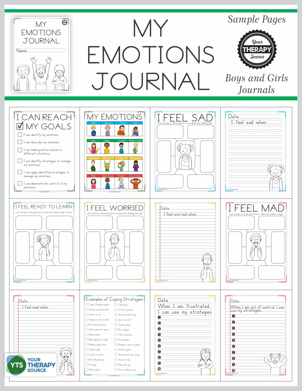 medium resolution of Emotional Regulation Worksheets - For Boys and Girls - Your Therapy Source