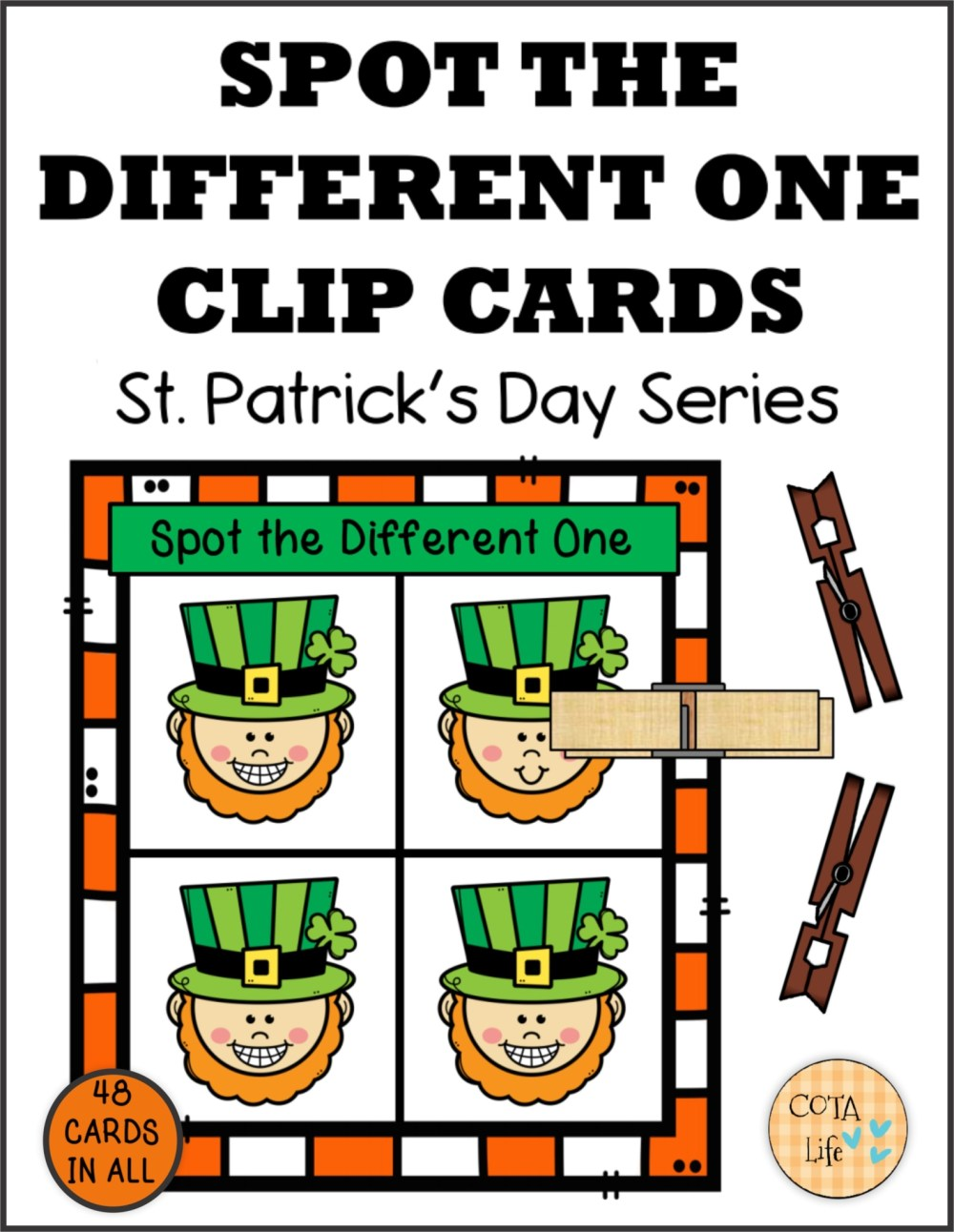 medium resolution of Spot the Difference St Patrick's Day Clip Cards - Your Therapy Source