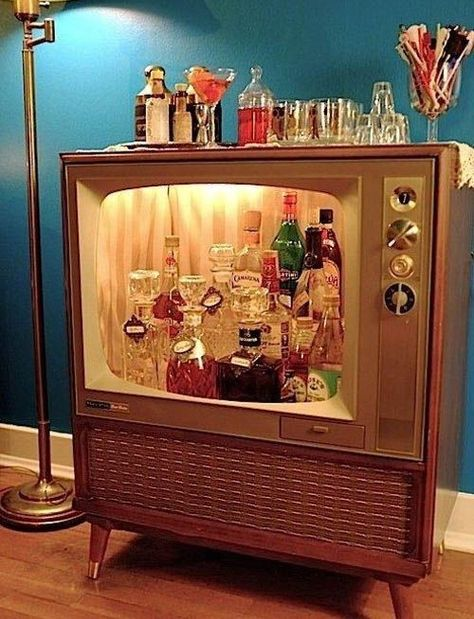 upcycled tv bar