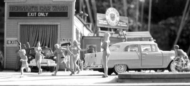 Bikini Car Wash black and white