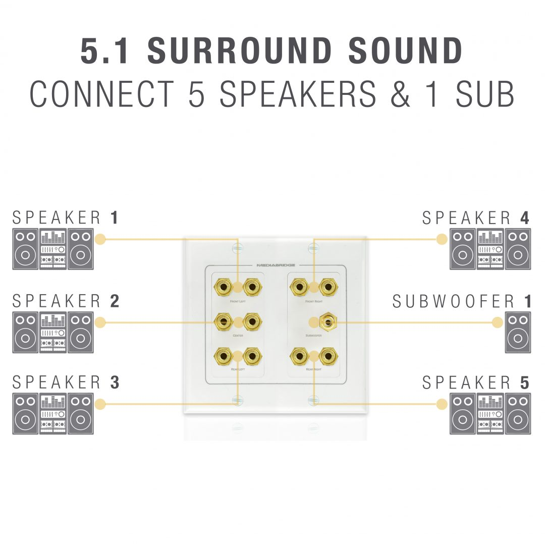 Shop New Wall Plate with Banana Plugs (5 Pair) & Subwoofer