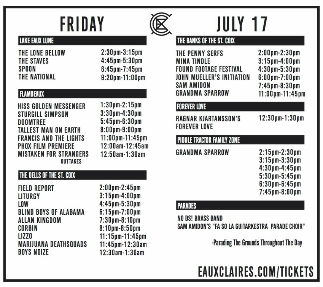 Eaux Claires Releases 2015 Daily Schedules!