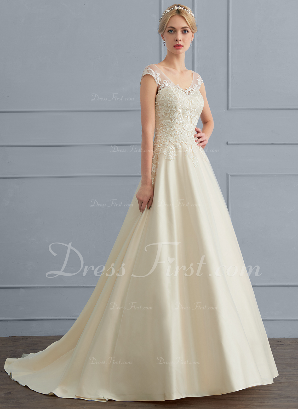 bc42cdb4671510 ... Loading Zoom · Ball Gown V Neck Sweep Train Tulle Wedding Dress 124276  ...