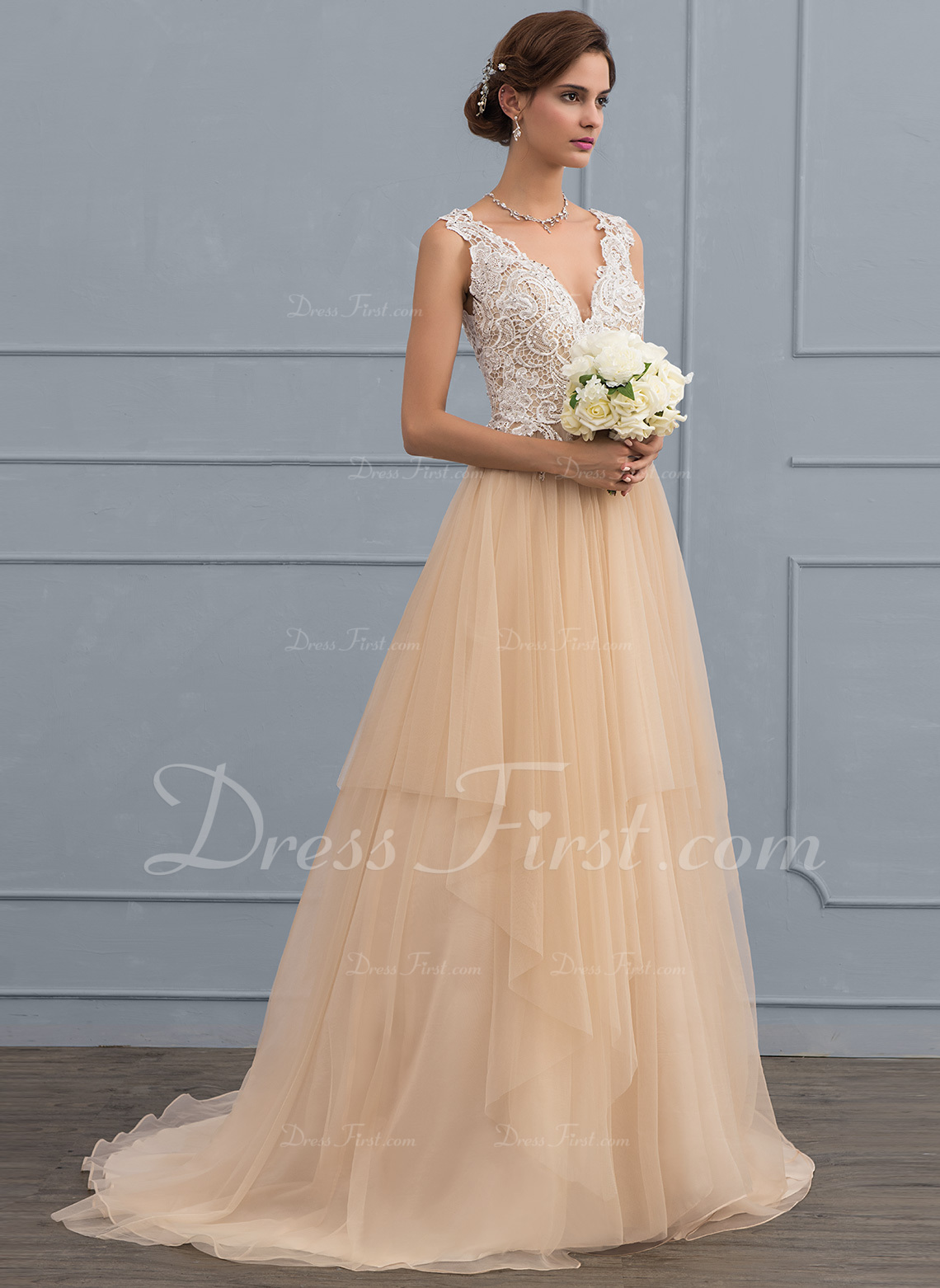 49f6fb2bac3d57 ... Lace Sequins Loading Zoom · Ball Gown V Neck Sweep Train Tulle Wedding  Dress With Beading Sequins 107847 ...
