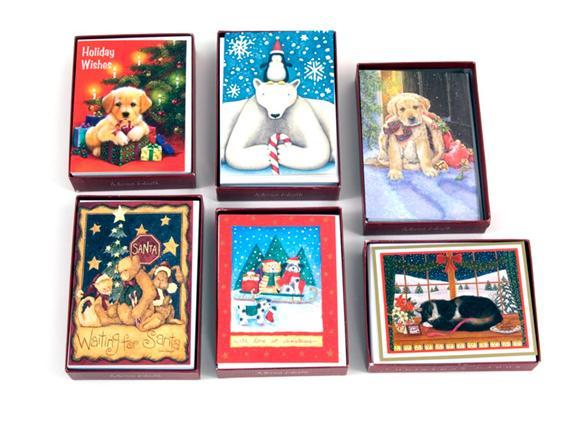 Box Of 15 Marian Heath Christmas Cards Random 5 Pack