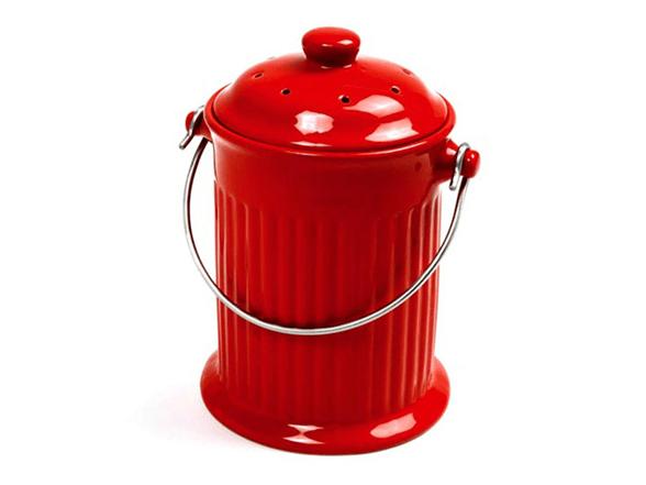compost pail kitchen moen soap dispenser countertop - red