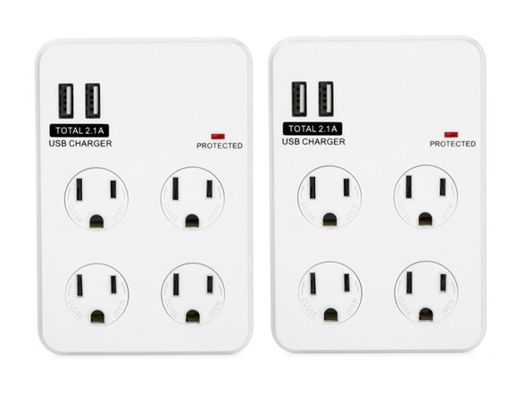 Bayoutech 4 Outlet Wall Plug w/2 USB Ports