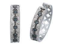 1/4 CT Blue Diamond Hoop Earrings
