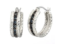 Sterling Silver 0.10 CT Blue Diamond Hoop Earrings