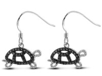 Black Diamond Turtle Earrings