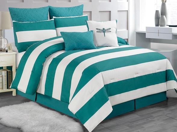 Delia Stripe 8pc Comforter SetTealQueen