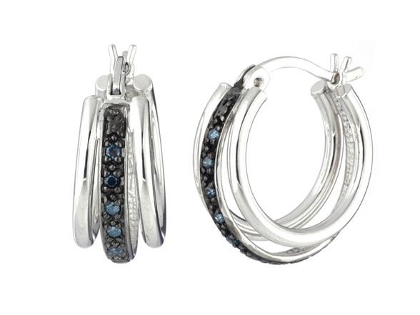 Sterling Silver 0.10 CT Blue Diamond Hoop Earrings